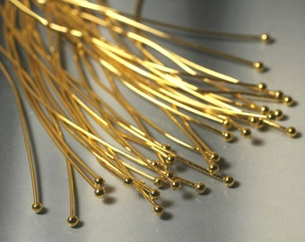 Gold plated ball pin ball size 2.5mm length 80mm thickness 0.8mm (20g), 30 pcs (item ID XMHC00688ABE)