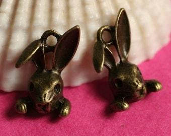 Closeout Antique brass rabbit charm, 6 pcs (item ID YDRB3D
