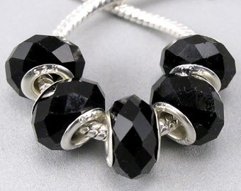 Silver Faceted Glass Bead - Black Crystal, fits All European Style Add a Bead Jewelry GPnd-008