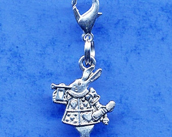 Build Your Bracelet - Alice in Wonderland Rabbit Charm Clip on Add a Charm Jewelry OR for a Pet Collar Sb-Gen155
