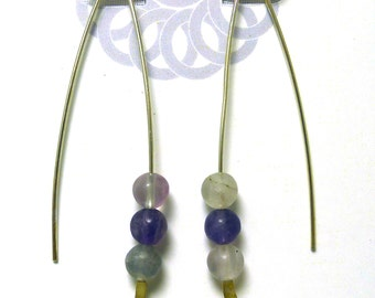 Flourite V Style Sterling Silver Earrings