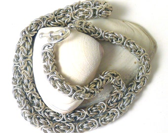 Sterling Silver Byzantine Chainmaille Necklace