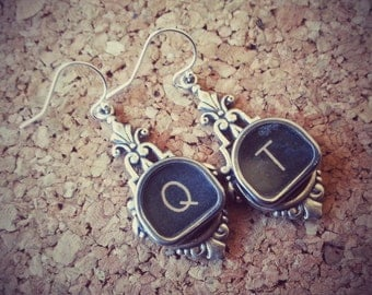 QT or CUTIE - Vintage Typewriter Key Earrings
