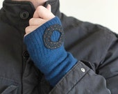 Mens Upcycled Felted Sweater Fingerless Gloves Arm Warmers  - Blue with Black Circle - gayeabandon