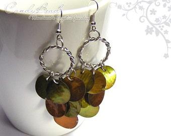 Chandelier Earrings, Olive Brown Shell Beads Earrings