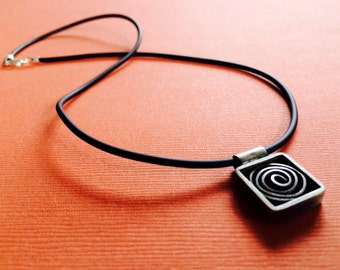 Spiral Squared (small) Sterling Silver Pendant