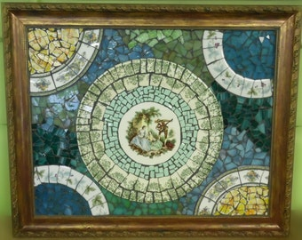 framed Broken CHINA  and STAINED GLASS pique assiette shabby chic cottage wall hanging art picture serenade in green and blue