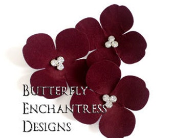 Wine Red Wedding, Bridal Hair Accessories, Hair Flowers - 3 Burgundy Aurora Hydrangea Bobby Hair Pins