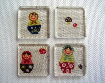 Set of Four Russian Doll Matryoshka Glass Tile Magnets Ready to Ship