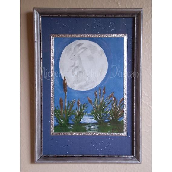 Rabbit On The Moon framed original art print animal fantasy art full moon bunny painting