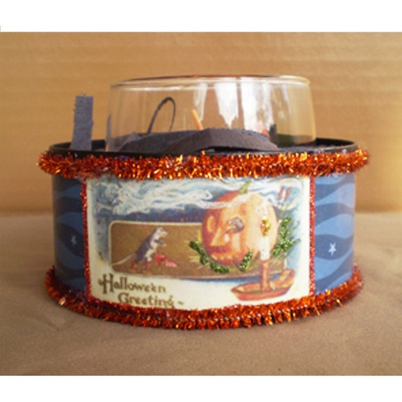 Halloween decoration candle holder scented candle home decor vintage style Jack o lantern rats