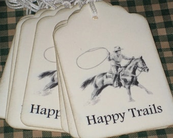 8 Happy Trails Gift Tags with Roping Cowboy