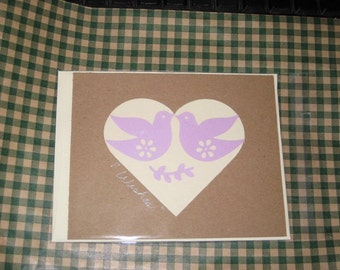 Flat Note Card with Doves Wishes