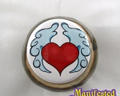 Winged Heart Button Love