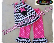 Girl Minnie Mouse Clothing Black Chevron Outfit Pant Set Halter Capri Short Birthday Baby Gift Size 6 9 12 18 24 month 2T 3T 4T 5T 6 7 8