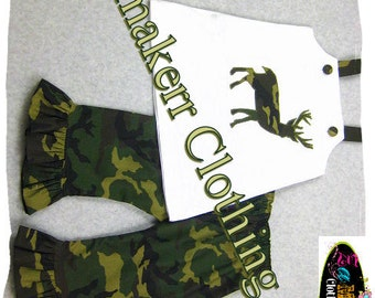 Baby Girl Camofluage Outfit - White Deer Top Army Camouflauge Ruffle Pant Outfit Set Sz 3 6 9 12 18 24 month size 2T 2 3T 3 4T 4 5T 5 6 7 8