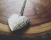 silver heart locket necklace very long