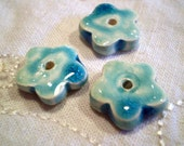 Flower Beads, Raku Beads, Turquoise Blue, Porcelain Clay