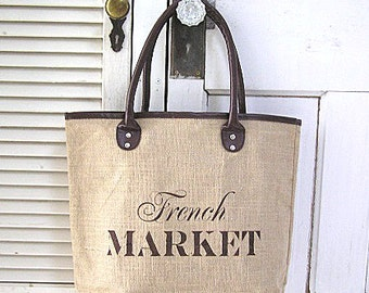 Large Reusable Jute Burlap Brown Trim Shopping Tote Bag French Market Design