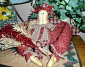 Primitive  Rag Doll Annie Angel Shelf Sitter Decoration