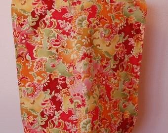 Adult Rib Bib/Clothing Protector. Make-up Bib, Long Length:  Elegant Orange, Pink and Green Floral