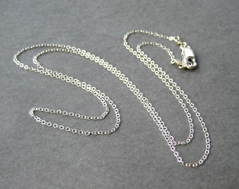22 Inch Sterling Silver Chain, Fine Gauge Chain Necklace, Lobster Claw Clasp, .925 Silver Simple Necklace, Cable Chain for Pendants