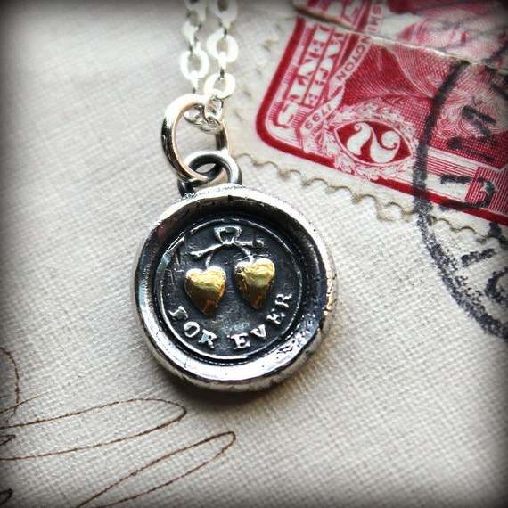 FOREVER Wax Seal Necklace in fine silver and 22kt gold - Antique Wax Seal- tied hearts, eternal love - I'm forever yours - Heart Necklace