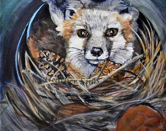 Fox ART print, animal giclee print,Wildlife woodland animal , baby fox print from original painting of fox, nursery art , kids wall art
