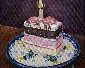 Poland Polish Pottery,still life cake art, kitchen decor, birthday painting, giclee print Heather Sims mat size options