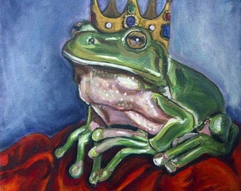 Crowned Frog Art Pint Wall Art, Nursery Decor, Gift Idea, Size and Mat Options, Heather Sims