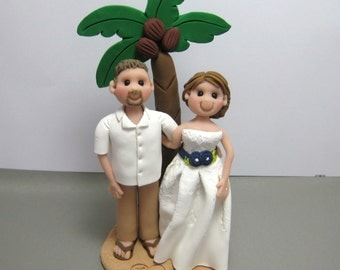 DEPOSIT for a Beach Theme Palm Tree Custom made Polymer Clay Wedding Cake Topper