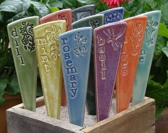 12 Plant Markers- Herb & or Vegetable Garden Markers - A set of 12 pottery garden stakes - READY TO SHIP