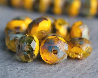 Marigold Czech Glass Picasso Bead Faceted 8x6mm Rondelle : 12 pc Yellow Rondelle Beads