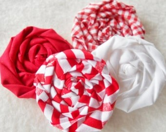 """Christmas Fabric Flowers Rolled Roses Hairclip Peppermint Wedding 5 Rosettes 2"""" Photo Prop Birthday Party Wholesale"""