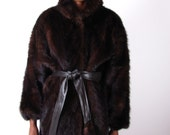 Vintage  80s BatWing Dark Ranch Mink Coat With Leather Mink Tail Belt