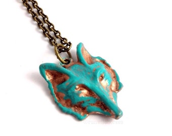 CLOSING DOWN SALE Turquoise Teal Patina Woodlands Fox Wolf Pendant Necklace