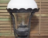 Vintage Gas Lantern Lamp with Milk Glass Dome and unique design As-Is