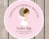 Girls First Holy Communion Favor Tags or Stickers / Personalized Pink Communion Tags or Stickers / Choose Hair Color / Set of 12