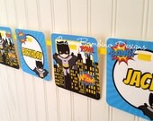 Batman Happy Birthday Banner / Personalized Superhero Banner / Name and Age