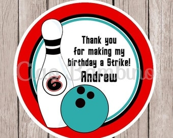 PRINTABLE Bowling Favor Tags / Print Your Own Personalized Bowling Birthday Party Stickers / Red, Black and Turquoise Blue / You Print