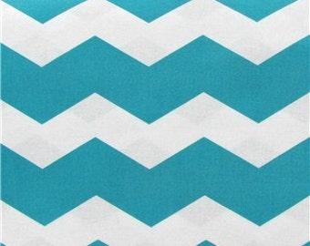 TURQUOISE CHEVRON YARDAGE Fabric by the yard turquoise with white zigzag chevron print cotton