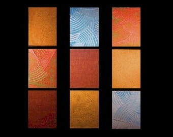 "M.Lang Large Painting..""BELLINI"" Metallic Textured triptych (3-10x30 Canvases"