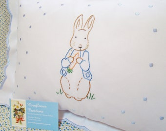 Peter Rabbit Nursery- Hand Embroidered Pillow - Ready to Ship