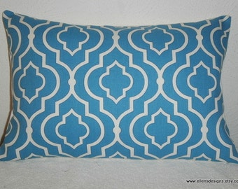 Decorative-Accent-Throw Pillow Cover-Free US Shipping-12 x 18 inch Geometric Quatrefoil Teal and White