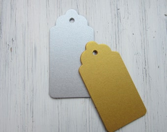 50 Gold, Silver Tags, Escort Tags, Gift Tags, Wedding Wish Tags, B01