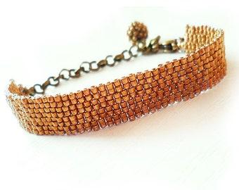 Bronze Glass Beads Bracelet - Beadwork Bracelet - Dicope Soul Adriana Bracelet
