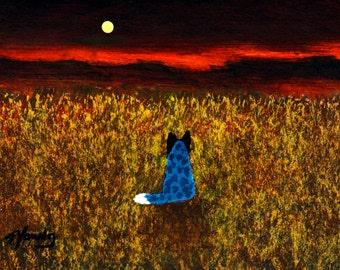 Australian Cattle Dog folk art print by Todd Young WESTERN SKY