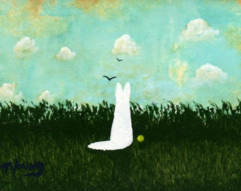 White German Shepherd Dog folk art PRINT of Todd Young painting SUMMER CLOUDS
