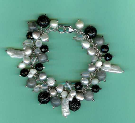 Winter Tweeds Sterling Silver Gemstone Charm Bracelet