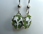 SALE: Tiny Lily Cameo Earrings On Green Background